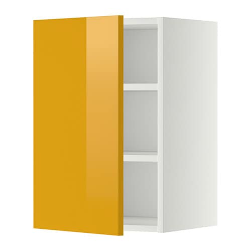 metod wall cabinet with shelves j rsta high gloss yellow
