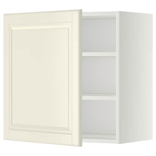 METOD wall cabinet with shelves white/Bodbyn off-white 60.0 cm 37 cm 38.9 cm 60.0 cm