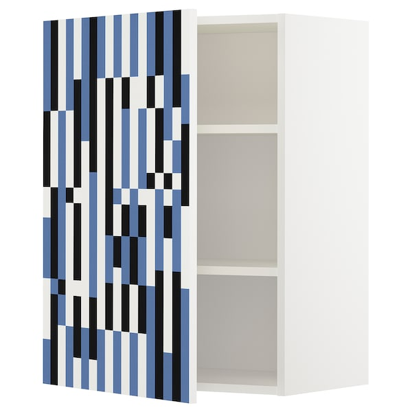 METOD wall cabinet with shelves white/Ytterbyn printed 60.0 cm 37 cm 38.8 cm 80.0 cm