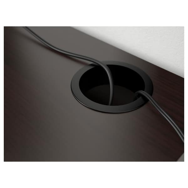 MICKE Desk, black-brown, 142x50 cm