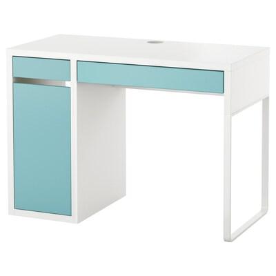 MICKE Desk, white/light turquoise, 105x50 cm
