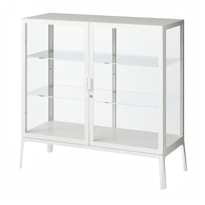 MILSBO Glass-door cabinet, white, 101x100 cm