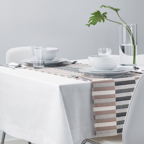 MITTBIT Table-runner, black beige/white, 35x130 cm