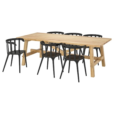MÖCKELBY / IKEA PS 2012 Table and 6 chairs, oak/black, 235x100 cm