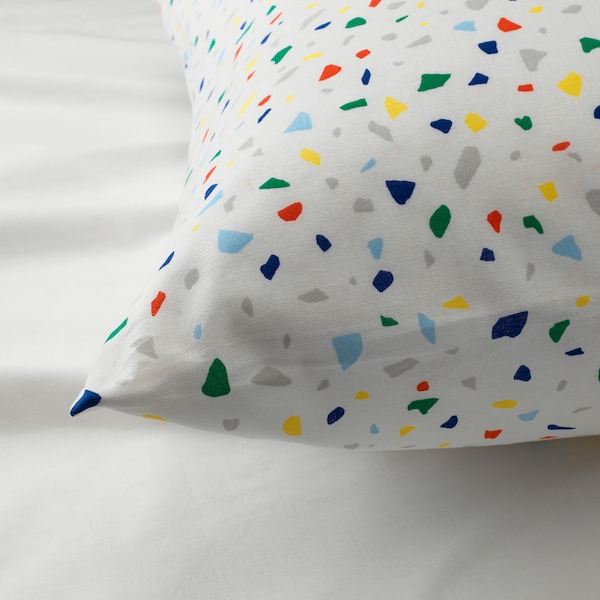 MÖJLIGHET Duvet cover and pillowcase, white/mosaic patterned, 150x200/50x60 cm