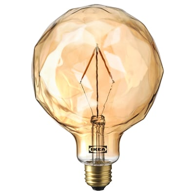 MOLNART LED bulb E26 120 lumen, globe-shaped with faceted glass brown clear glass, 125 mm