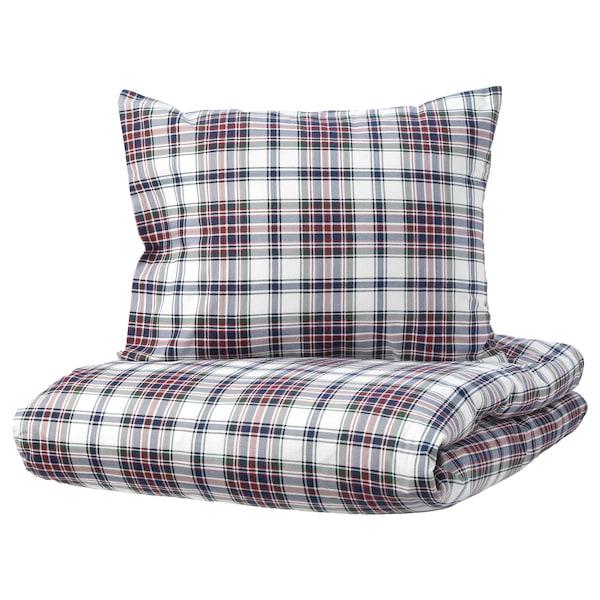 MOSSRUTA Quilt cover and 2 pillowcases, multicolour/check, 200x200/50x60 cm