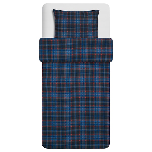 MOSSRUTA Quilt cover and pillowcase, dark blue/check, 150x200/50x60 cm