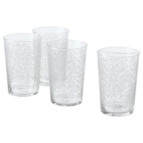MUSTIGHET glass patterned/white 12.5 cm 46 cl 4 pack