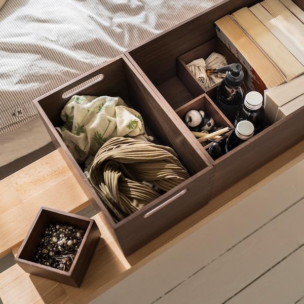 NÄBBIG Box, set of 4, brown, 29x10 cm