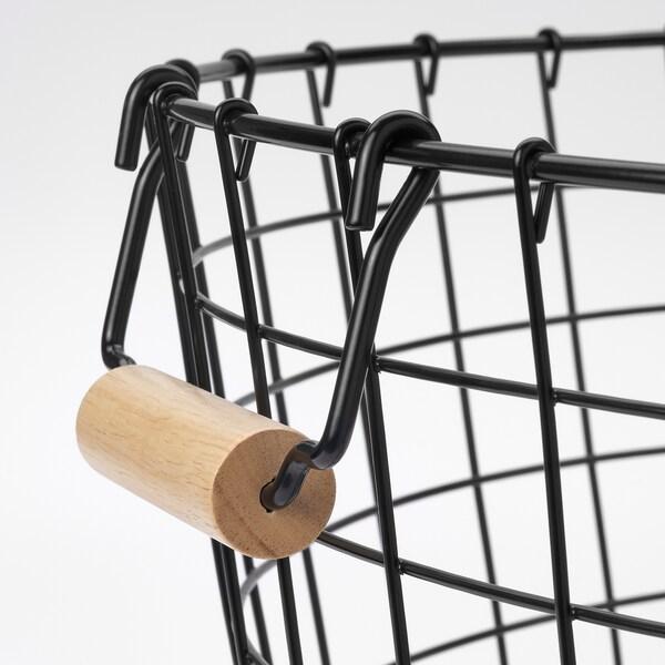 NÄTADE Wire basket with handles, black, 59x40 cm