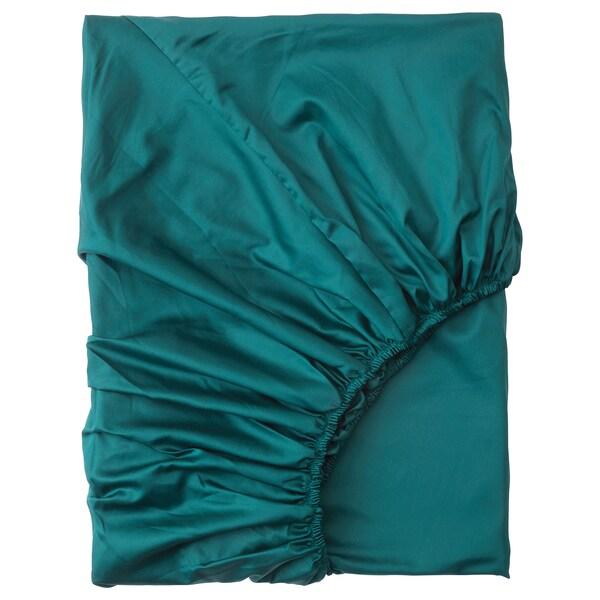 NATTJASMIN Fitted sheet, dark green, 140x200 cm