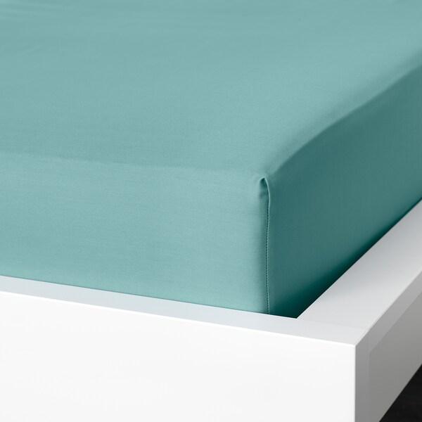 NATTJASMIN Fitted sheet, grey-turquoise, 140x200 cm