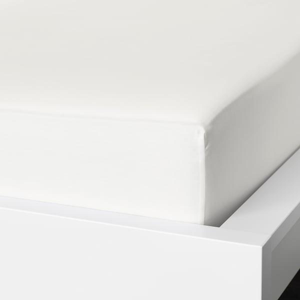 NATTJASMIN Fitted sheet, white, 140x200 cm