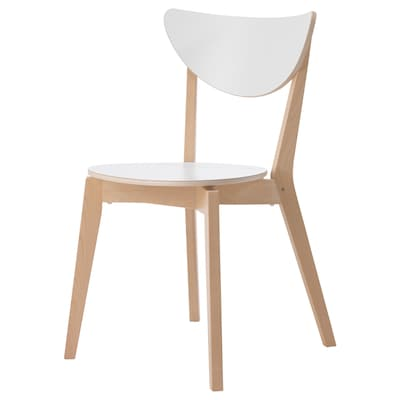 NORDMYRA Chair, white/rubberwood