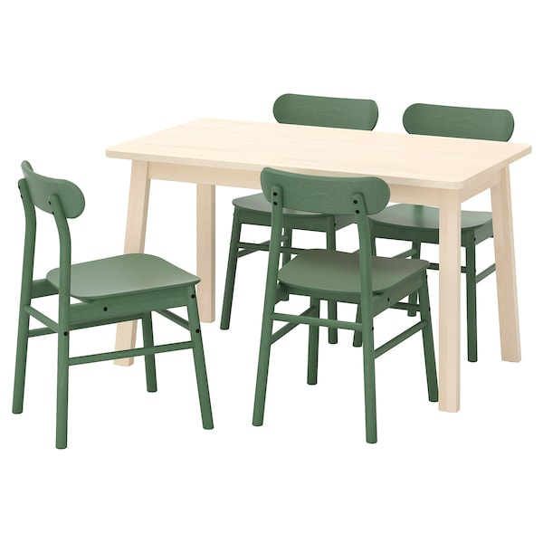 NORRÅKER / RÖNNINGE Table and 4 chairs, birch/green, 125x74 cm