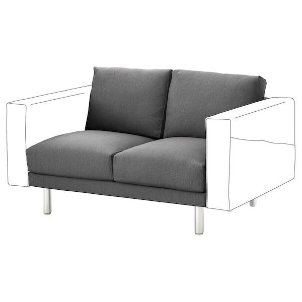 NORSBORG 2-seat section Finnsta dark grey/metal 121 cm 88 cm 85 cm 18 cm 60 cm 43 cm