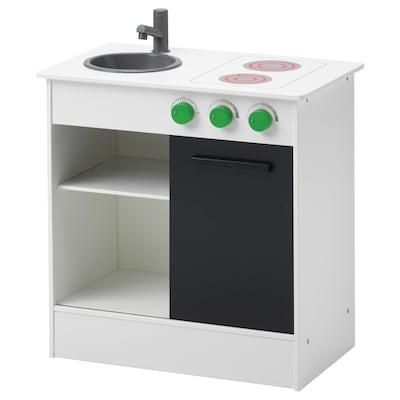 NYBAKAD Play kitchen with sliding door, white, 49x30x50 cm
