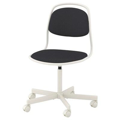 ÖRFJÄLL Swivel chair, white/Vissle dark grey