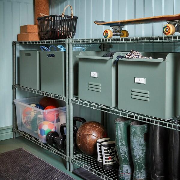 OMAR Shelving unit, grey-green, 92x36x94 cm