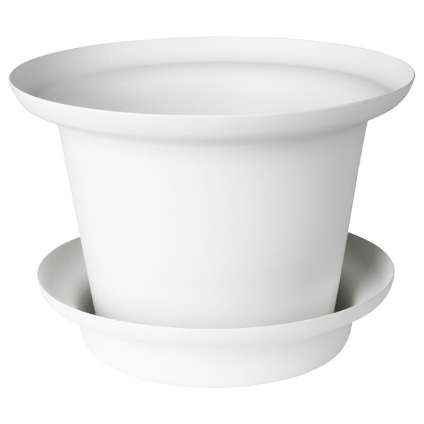 OMTÄNKSAM Plant pot with saucer, white, 14 cm