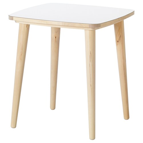 OMTÄNKSAM side table white/birch 55 cm 55 cm 60 cm
