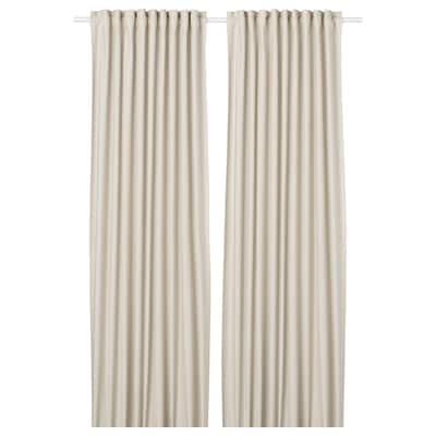 ORDENSFLY Curtains, 1 pair, white/beige, 145x250 cm