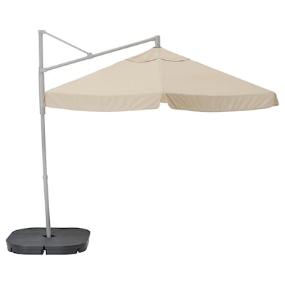 OXNÖ / VÅRHOLMEN Parasol, hanging with base, grey beige/Svartö dark grey, 300 cm