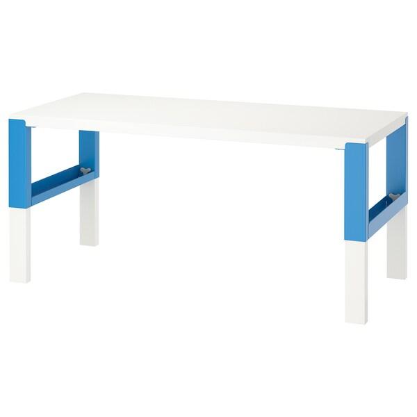 PÅHL Desk, white/blue, 128x58 cm