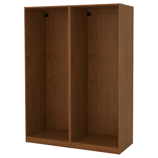 PAX 2 wardrobe frames, brown stained ash effect, 150x58x201 cm