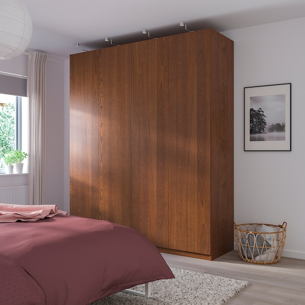 PAX 3 wardrobe frames, brown stained ash effect, 200x58x201 cm