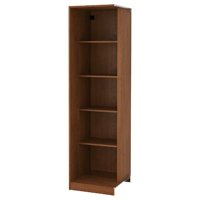 PAX Add-on corner unit with 4 shelves, brown stained ash effect, 53x58x201 cm
