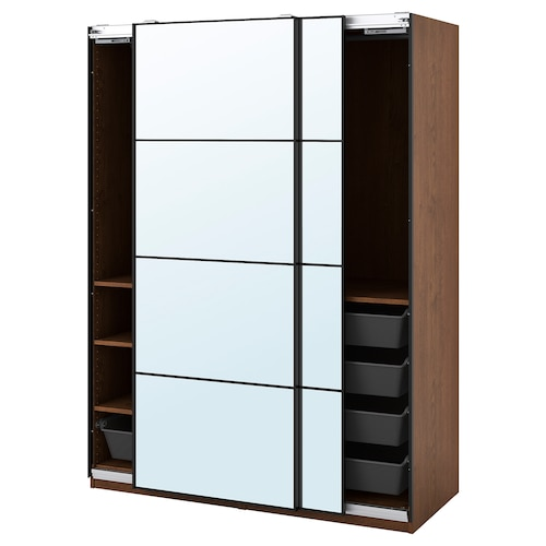 PAX / AULI wardrobe combination brown stained ash effect/mirror glass 150.0 cm 66.0 cm 201.2 cm