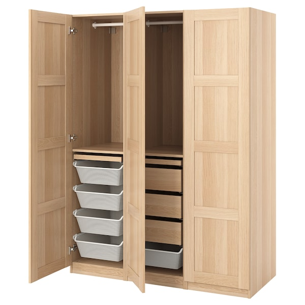 PAX / BERGSBO Wardrobe combination, white stained oak effect, 150x60x201 cm