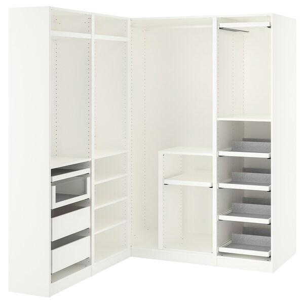PAX Corner wardrobe, white, 160/163x201 cm