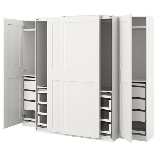 PAX / GRIMO Wardrobe combination, white, 250x66x201 cm