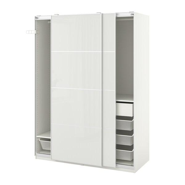 PAX / HOKKSUND Wardrobe combination, white/high-gloss light grey, 150x66x201 cm
