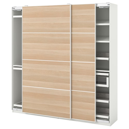 PAX / MEHAMN wardrobe combination white/white stained oak effect 200.0 cm 44.0 cm 201.2 cm