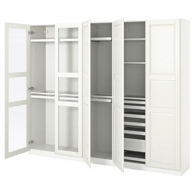 PAX / TYSSEDAL Wardrobe combination, white/glass, 250x38x201 cm