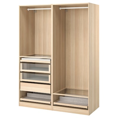 PAX Wardrobe combination, white stained oak effect, 150x58x201 cm