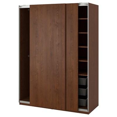 PAX Wardrobe, Hasvik/brown stained ash effect, 150x66x201 cm