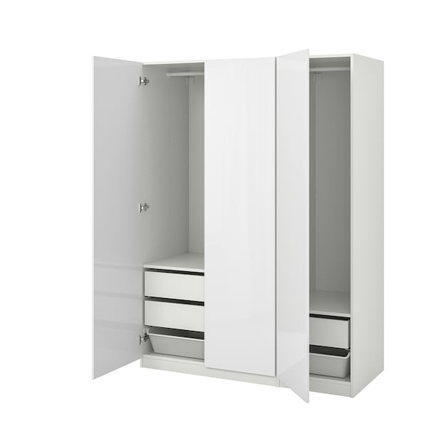 PAX Wardrobe, white/Fardal high-gloss/white, 150x60x201 cm