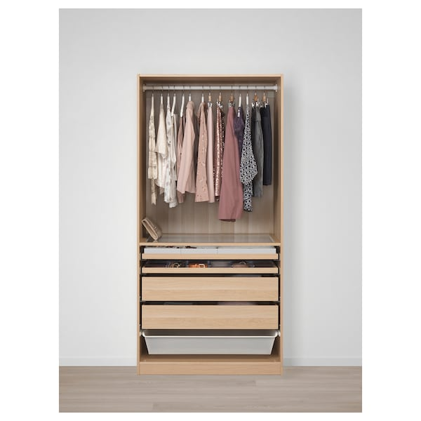 PAX wardrobe white stained oak effect/Forsand 100.0 cm 60.0 cm 201.2 cm
