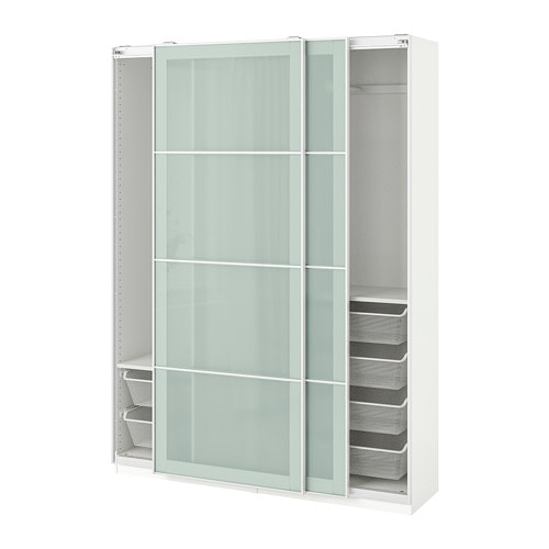 Pax Wardrobe White Sekken Frosted Glass
