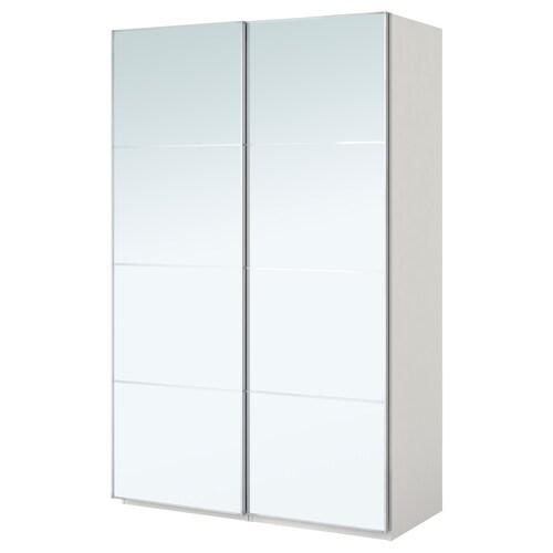 PAX wardrobe white/Auli mirror glass 150.0 cm 44.0 cm 201.2 cm