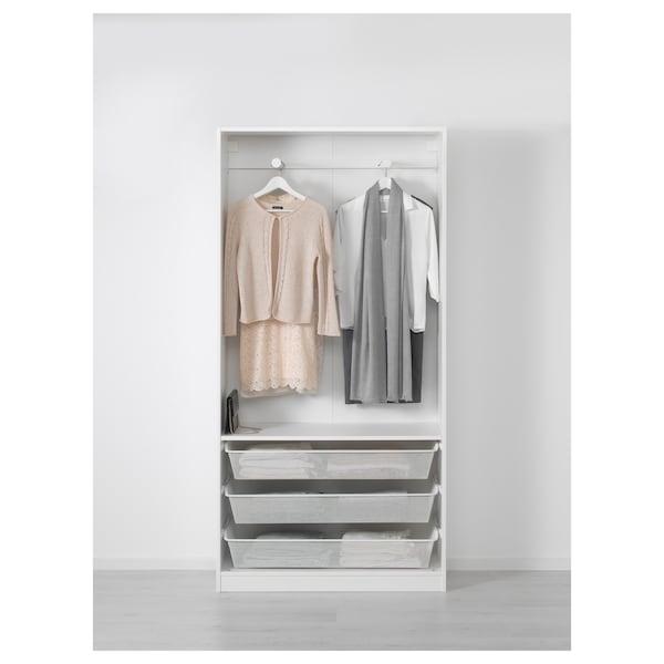 PAX wardrobe white/Hamnås black-blue 100.0 cm 38.0 cm 201.2 cm