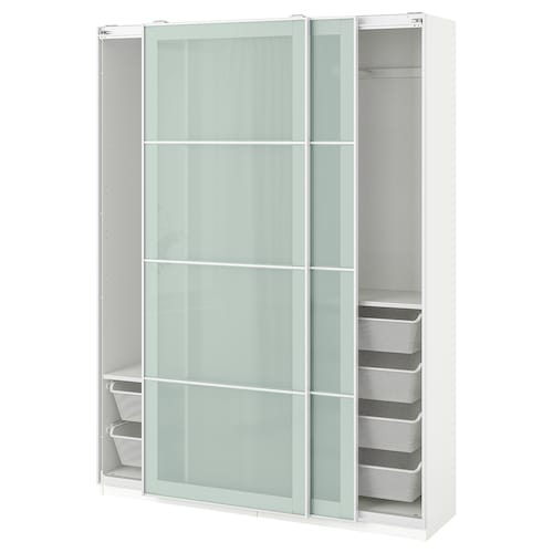 PAX wardrobe white/Sekken frosted glass 150 cm 44 cm 201.2 cm