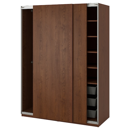 PAX wardrobe Hasvik/brown stained ash effect 150.0 cm 66.0 cm 201.2 cm