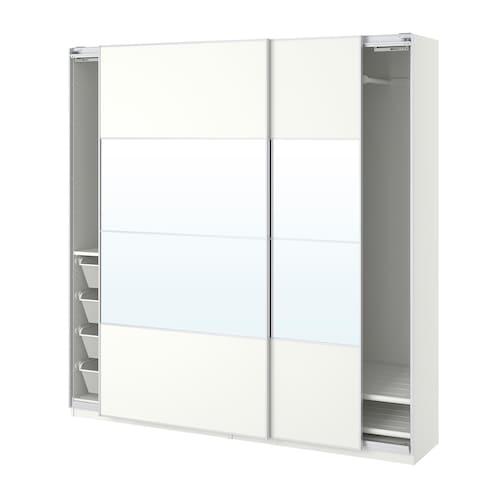 PAX wardrobe white/Mehamn Auli 200.0 cm 44.0 cm 201.2 cm