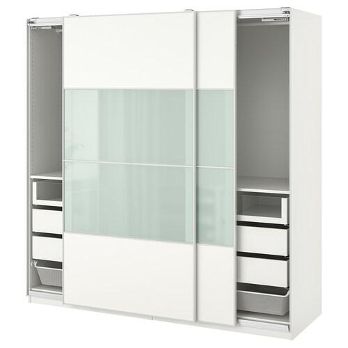 PAX wardrobe white/Mehamn Sekken 200.0 cm 66.0 cm 201.2 cm